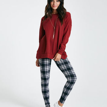 Brushed Plaid Print Leggings | Wet Seal