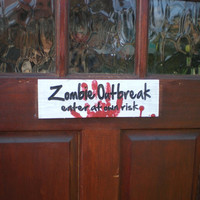 Halloween Zombie Outbreak Wood Sign Carved Lettering