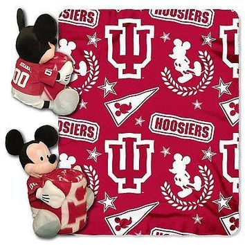 Indiana Hoosiers NCAA Mickey Mouse Throw and Hugger Pillow Set