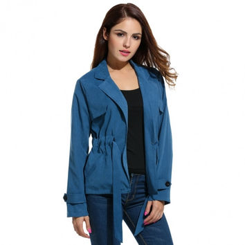 Women Leisure Turn Down Collar Drawstring Waist Lightweight Jacket