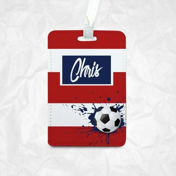 Red & White stripes soccer Personalized Luggage Tag, Bag Tag, Backpack Tag, Customize with different stripes colours, Soccer fans gift