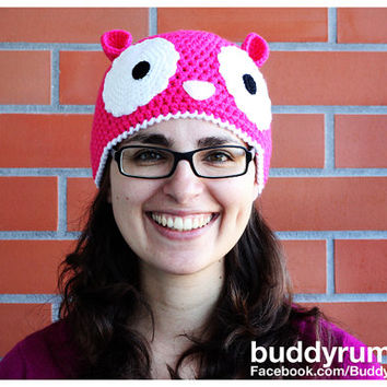 PATTERN: Crochet hat Big eyes crochet animal pattern