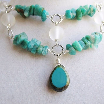 Teal Green Amazonite Chip Clear Seaglass and Picasso Czech Glass Drop Beaded Boho Silver Necklace