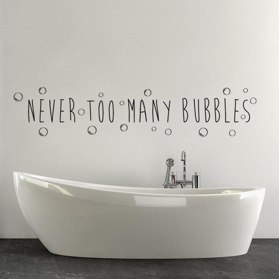 Bathroom bathtub wall decor decal word from happy wallz for Bathroom wall decor quotes