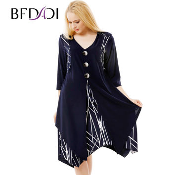 Women Retro Casual Loose A-Line Dress 3/4 Sleeved Splicing Irregular hem Big size dress xl-6xl 7-3580
