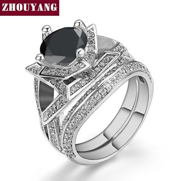 Luxury Black Round-cut Cubic Zirconia Flower Shape Ring Set Silver Color Fashion Jewelry For Women Party Gift Wholesale ZYR633