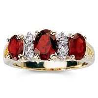 Genuine Garnet and Diamond-Accent Band Ring