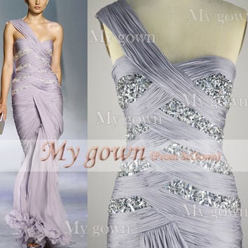 Gorgeous One-Shuolder Handmade Draped Deading Crystal Chiffon Prom Dress, Wedding Dress, Evening Gown