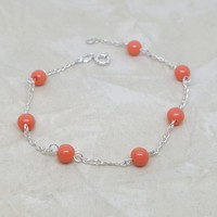 2-0458-h2-2 Sterling Silver Pink Coral (synthetic) Bead Bracelet.