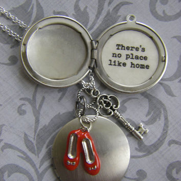 There's No Place Like Home Wizard of Oz Locket Necklace dorothy red slippers silver locket gift for her Graduation Gift leaving home