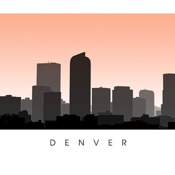 Denver City Skyline - Colorado Poster Print - Choose your color and size - Mile-High City, University of Denver, Denver Broncos, Rockies