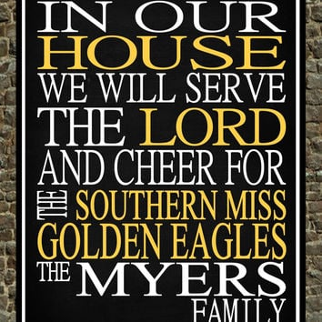 Customized Name Southern Miss Golden Eagles NCAA football personalized family print poster Christian gift sports wall art - multiple sizes