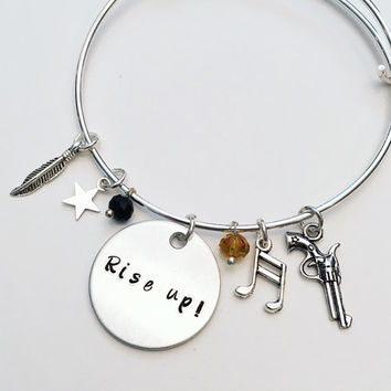 Rise Up Alexander Hamilton the Musical Inspired Lyrics Hand Stamped Adjustable Bangle Charm Bracelet