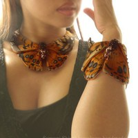 One Of kind set of butterfly South American Painted lady or vanessa carye bracelets and collar silk painting