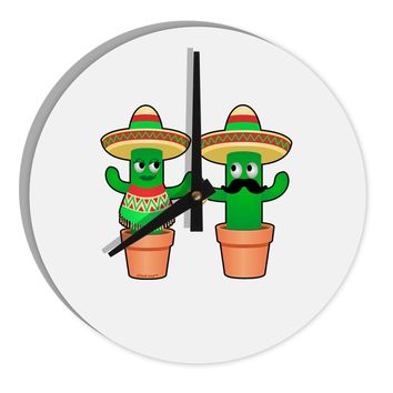 "Fiesta Cactus Couple 8"" Round Wall Clock  by TooLoud"