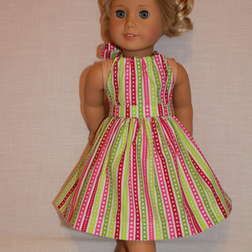 2 piece set! pink, green, white stripe halter dress with matching belt, 18 inch doll clothes, american girl, maplelea