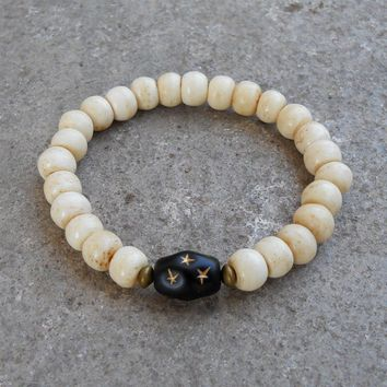 Bone Prayer Beads and Black Hand Painted Guru Bead Bracelet