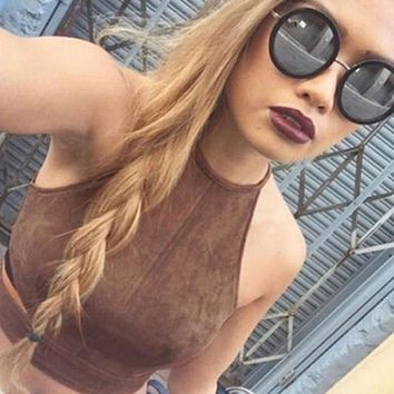 Summer Vintage Brown Faux Leather Suede Cropped Tank Top Bra Sexy Strap Hollow Camis Women Tops Sexy Slim Crop Tops Fall Vest