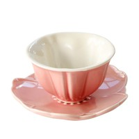 Creative Pink Cherry Flower Shaped Ceramic Tea Cup Set