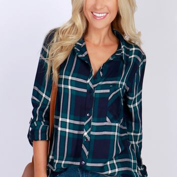 Plaid Print Button-Up Top Teal