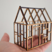 Small geometric birch house framework, 3D architectural line drawing
