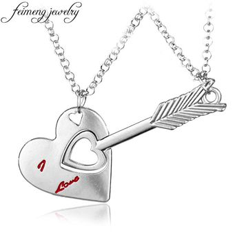 feimeng jewelry Fashion Korean Couple Necklace Love Heart Arrow Pendant Necklace Trendy Paired Suspension Pendant For Lovers