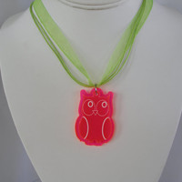 pink owl necklace of layers of   acrylic with choice of necklace
