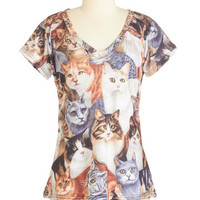 Quirky Mid-length Short Sleeves Ta Ta for Meow Tee