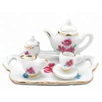 Doll House Miniature Tea Set With Flower Design