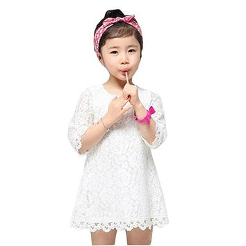 Summer Lace Girls Dresses Spring Summer Flower Children Princess Clothing White Pink Kids Dresses for Party School