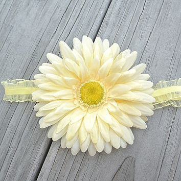 Pale Yellow Gerber Daisy Flower Organza Ruffle Headband - Shabby Chic Baby Girl Photo Prop - Newborn Infant Toddler Floral Hair head band