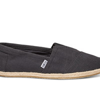 Washed Black Linen Rope Sole Men's Classics