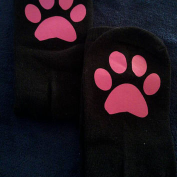 Paw print socks - funny socks - cute socks - cat socks - cat lover gift - stocking stuffer for her