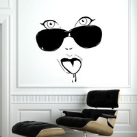 Makeup Wall Decal Vinyl Sticker Decals Home Decor Mural Make Up Girl Woman Eyes Face Lips Fashion Cosmetic Hairdressing Hair Beauty Salon Decor (6040)