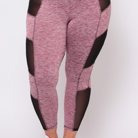 Plus Size Mesh Inset Joggers - Burgundy