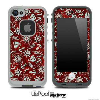 Red Nautica Skin for the iPhone 5 or 4/4s LifeProof Case