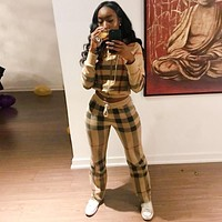 2018 Female TWO PIECE SET Hoodie Plaid Tracksuit For Women Clothing Runway Track Suit Pant Striped Costumes Sweatsuits Autumn