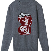 Gray Coke Can Pattern Knitted Sweater