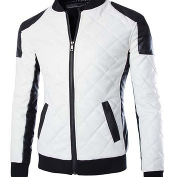 Color Block Long Sleeve PU Leather Zippered Jacket