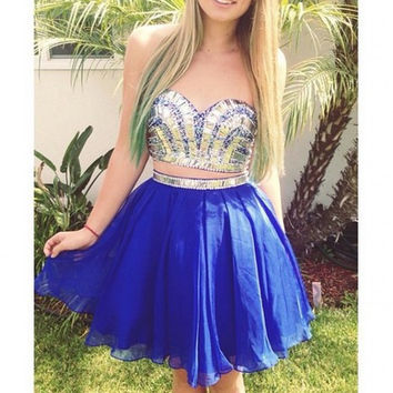 Blue Two Piece Homecoming Dresses