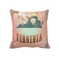Modern Vintage Virginia State Map- Pastel Peach Pillows