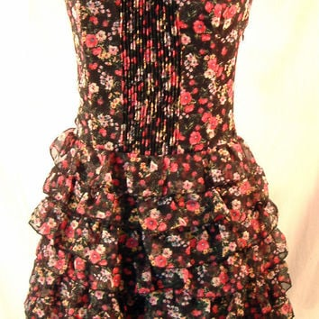 Guess mini dress sweat heart tiered ruffle boned bodice black floral sz 9