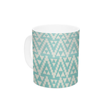 "Amanda Lane ""Geo Tribal Turquoise Sky"" Teal Aztec Ceramic Coffee Mug"
