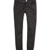 Karl-Print Stretch Skinny Jeans, Black