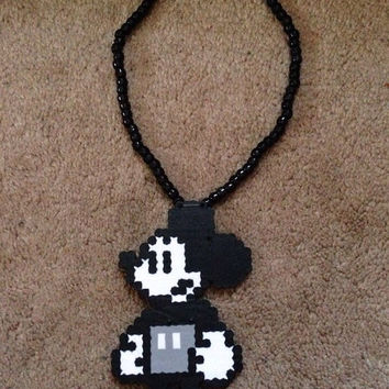Old School 8 Bit Perler Bead Mickey Mouse 3D Kandi Necklace