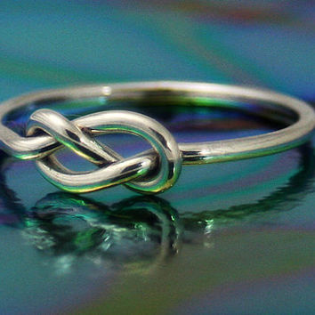sterling silver infinity knot ring, silver nautical knot ring, stop knot, friendship, love, sisters, silver ring, novelty, statement