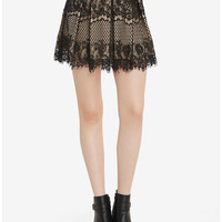 Lace Nude Contrast Skirt