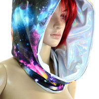 Galaxy Print and Silvery Holographic Reversible Cowl Hood