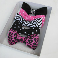 Hair Bows - Any 1 bow of your choice for $5 - Rhinestone Bow, Pink Polka Dot, Chevron, Black and White Polka Dot, Pink Leopard