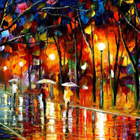 "Evening rain in the park — PALETTE KNIFE(2) Oil Painting On Canvas By Leonid Afremov - Size: 36"" x 20"""